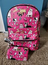 Betsey Johnson Fuschia Dog Food Backpack and Wristlet NWT LBDREW