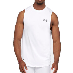 Under Armour UA Mens MK1 Raid 2.0 White Sleeveless Tank White Running Vest L