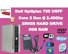 Dell Optiplex 755 USFF Intel Core 2 Duo@2.40GHz 3 GB RAM,250 GB HD,Win7 PRO WIFI