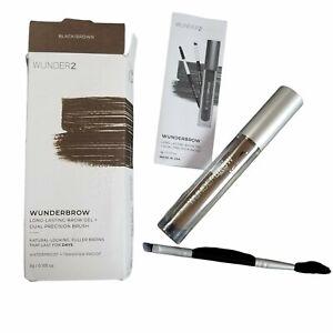 6x WUNDER2 Wunderbrow Long-Lasting Brow Gel & Dual Precision Brush BLACK/BROWN