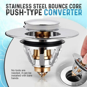 1xStainless Steel Push Type Bounce Core Universal Wash Basin Pop Up Drain Filter