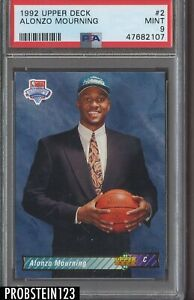 1992-93 Upper Deck NBA Draft #2 Alonzo Mourning Hornets RC Rookie PSA 9 MINT