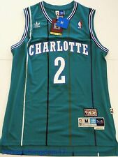 NWT Throwback Basketball Jersey LARRY JOHNSON 2 Charlotte Hornets Teal Mens NWT