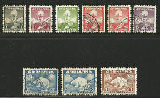 Greenland 1938-46 King Christian X/Polar Bear--Attractive Topical (1-9) used