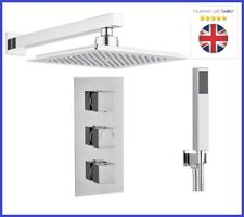 Square Concealed Thermostatic Shower Mixer Valve 3 Handle 2 Way Overhead Kit