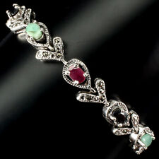 Unheated Oval Emerald 6x4mm Ruby Sapphire Marcasite 925 Sterling Silver Bracelet