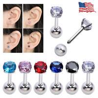 16G Steel Round CZ Crystal Bar Ear Cartilage Tragus Helix Stud Earring Piercing