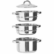 3 Tier Stainless Steel Steam Cooker Pot Pan Set Glass Lid Induction Hob Cookware