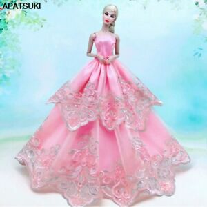 """Pink Floral Lace Wedding Dress For 11.5"""" 1/6 Doll Outfits Fashion Doll Clothes"""