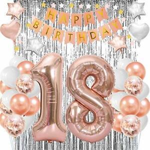 Decoracion De 18 Años Para Cumpleaños Globos Confeti Numeros Rose Gold Set Niña