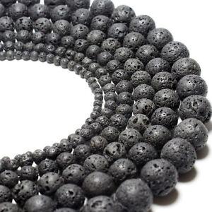 OM3 Herren Damen Unisex Kette Rund Vulkan Lava Stein Lose Perlen Beads 8mm /10mm