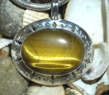 Massiv Silber Kettenanhänger 4,7 cm Tigerauge Braun Gold Anhänger Groß Quer