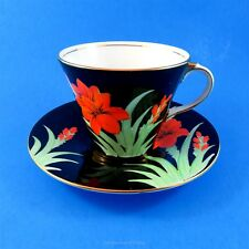 Art Deco Red Flowers on Black Background Aynsley Tea Cup and Saucer Set