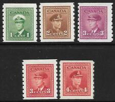 Canada 1942-43 Coil Stamps SG 389-393 (Mint)