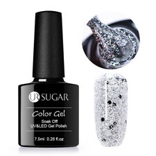 7.5ml Nail Glitter Gel Polish Holo Laser Sequins Silver Soak Off UV/LED UR SUGAR