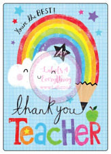 4 x Non Personalised Teacher Thank You Large Stickers Party Bag Sweet Cone Gift