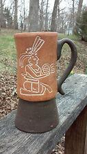 Mexican Red Clay Terra Cotta Pottery Aztec Inca Mayan Symbol Folk Art Mug Cup
