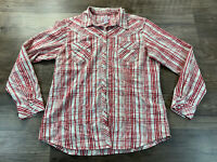 Women's Cowgirl Up Western Rodeo Metallic Plaid Pearl Snap Long Sleeve Shirt XL