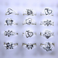 Wholesale Lots 10 Pcs Mixed Style Flower 925 Silver Rings Size 6 to 8