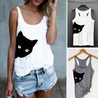 Summer Women Casual Tank Top Blouse Ladies Cat Print Crop Top T-Shirt Sportwear