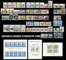 MONACO 1986 ANNEE COMPLETE Neuve** avec PREO & TAXE inclus & 3 Blocs Cote : 191€