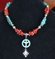 Turquoise and coral necklace, Natural gemstone necklace, Boho necklace (1023)