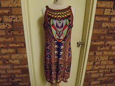 Rockmans Colourful Shift Dress w/- Diamente Sequins sz L