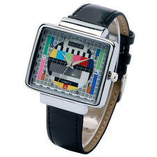 Black TV Quartz Wrist Watch Womens Mens Luxury PU Leather New Television Q0807