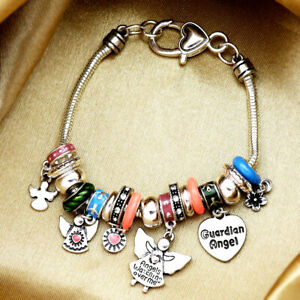 Guardian Angels Protective Cuff Bracelet Heart Snake Chain Lucky Praying Charm