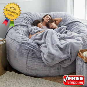 7FT Microsuede Fur Giant Bean Bag Memory Living Room Chair Lazy Sofa Soft Cover