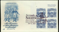 Surrender At Saratoga #2590 Artcraft Cachet Plate # Block First Day Lot 1175