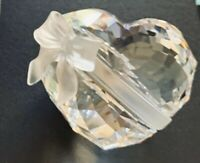 VTG. Swarovski Crystal HEART Paperweight FROSTED BOW SWEETHEART Anniversary 1995
