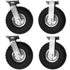 "4Pcs Pneumatic Air Tire Wheel 2 Rigid + 2 Swivel HD Farm Cart Caster Large 10"""
