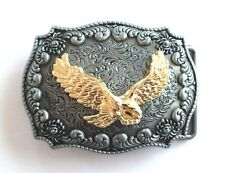 Belt Buckle - Golden Eagle on Pewter Colour Finish with Western Flower Design
