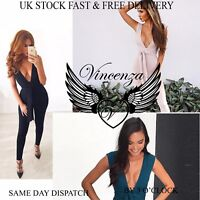 Vincenza UK Womens V Neck Holiday Ladies Jumpsuit Evening Party Playsuit Ladies