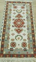 2'3'X 4'*HAND-KNOTTED TURKISH OUSHAK TRIBAL KAZAK VEG DY WOOL NEW RUG RUNNER