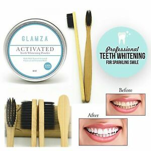Activated Charcoal Teeth Whitening Powder Teeth Stains & Bamboo Toothbrush Combo
