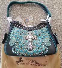 Montana West Purse New W/Tags Turquoise and Black Cross (Style 4)