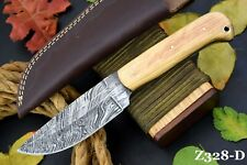 Custom Damascus Steel Hunting Knife Handmade With Olive Handle (Z328-D)