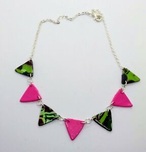 Ooak Bunting necklace in khaki camouflage and pink
