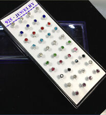 6b79f3b57283 925 Silver 40PCS Fashion Women Sunflower Crystal Rhinestone Ear Stud  Earrings