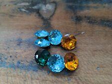♡Nr. G17- 7 St. alte Glassteine bunt Neugablonz 14 mm  Facettenschliff♡