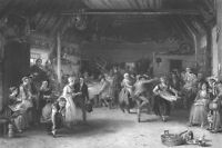 1850s FARMER FAMILY BARN PENNY WEDDING DANCE PARTY ~ 1860 Art Print Engraving