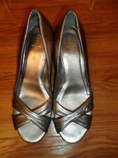Cole Haan Nike Air Women's Opened Toe Silver Metalic Leather Wedge Heel Size 8 B