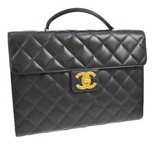 Auth CHANEL Jumbo Quilted CC Business Hand Bag Black Caviar Leather GHW AK33229h
