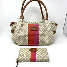 Kate Spade Purse AND Wallet Stevie Classic Spade Canvas Handbag Stucco Shoulder