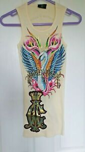 Ed Hardy by christian Audiger ladies top. yellow,Crystal swan. Bnwot