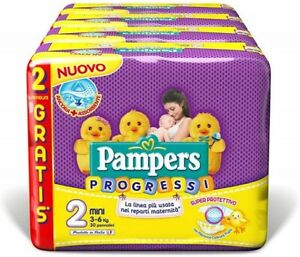 Pampers Progressi Mini Taglia 2 (3-6 kg) 4 Pacchi 120 Pannolini