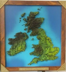 3d British Isles framed topographic map in colour