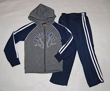 Boys Sweat Outfit Hoodie Jacket Pants Navy Blue Gray 4 Baseball All-Star League